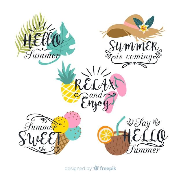 Colección de insignias coloridas de rebajas de verano vector gratuito