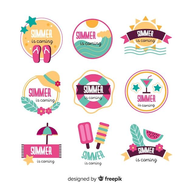 Colección de insignias coloridas de verano dibujadas a mano vector gratuito