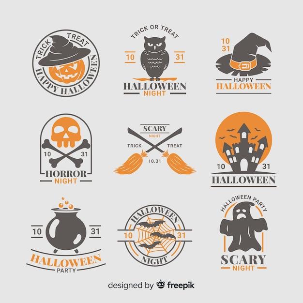 Colección de insignias de criaturas de halloween vector gratuito