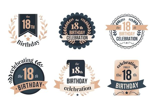 Colección de insignias de cumpleaños número 18 vector gratuito