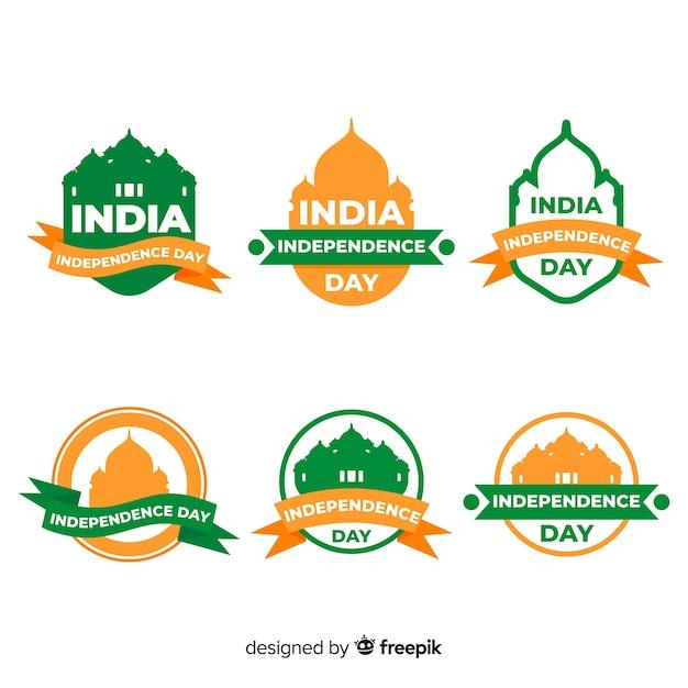 Colección de insignias del día de la independencia de la india vector gratuito