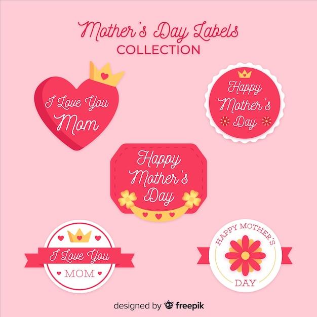 Colección de insignias del día de la madre en diseño plano vector gratuito