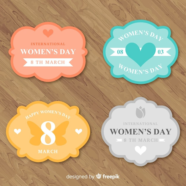 Colección de insignias del día de la mujer vector gratuito