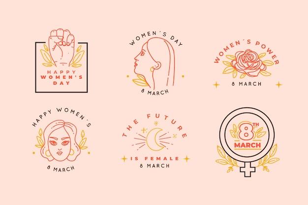 Colección de insignias del día de las mujeres dibujadas a mano vector gratuito