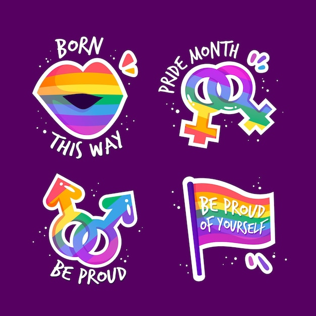 Colección de insignias del día del orgullo vector gratuito