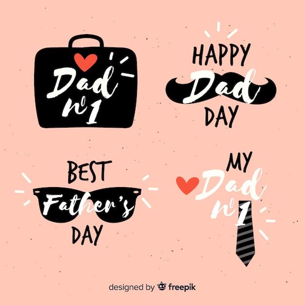 Colección de insignias del día del padre dibujado a mano vector gratuito