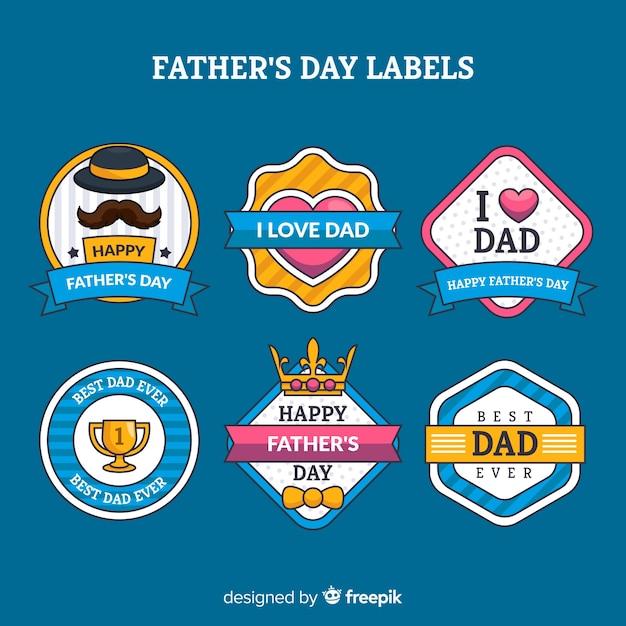 Colección de insignias del día del padre en diseño plano vector gratuito