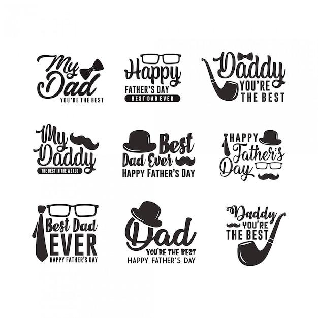 Colección de insignias del día del padre Vector Premium