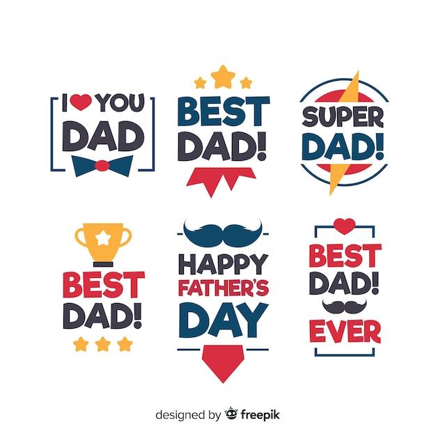 Colección de insignias del día del padre vector gratuito