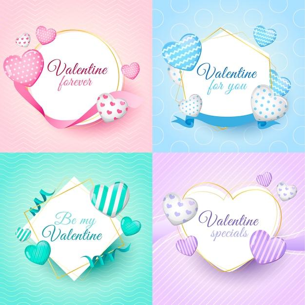Colección de insignias del día de san valentín con corazones vector gratuito