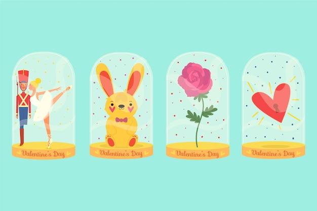 Colección de insignias del día de san valentín dibujadas a mano vector gratuito