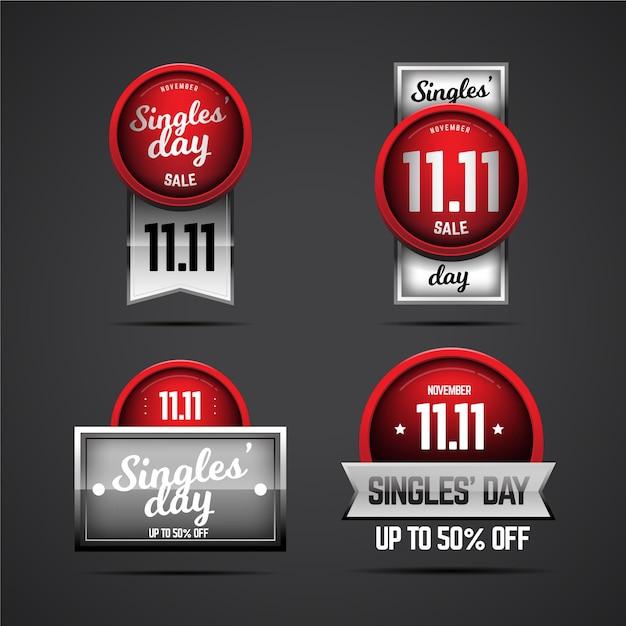 Colección de insignias del día del soltero Vector Premium