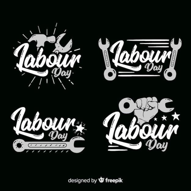 Colección de insignias del día del trabajador dibujadas a mano vector gratuito