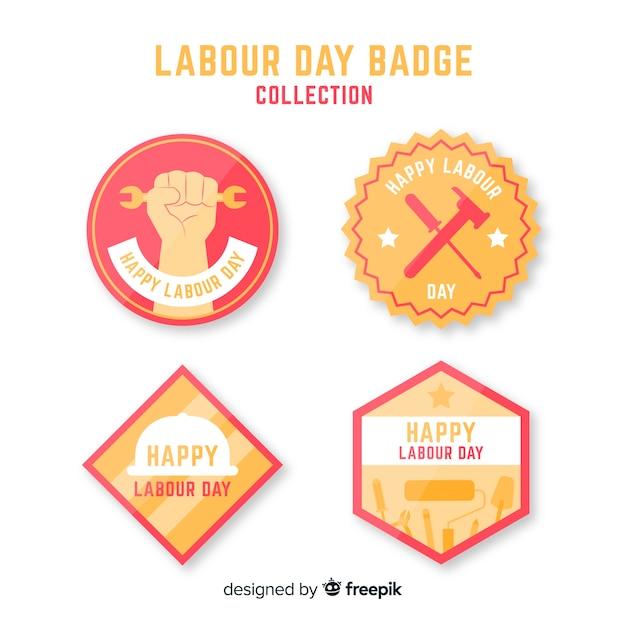 Colección de insignias del día del trabajador vector gratuito