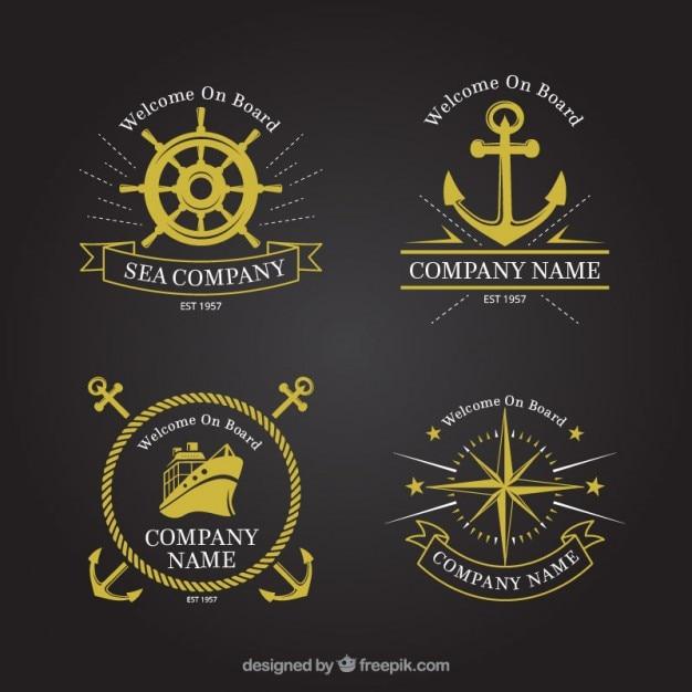 Colección de insignias doradas marineras vector gratuito