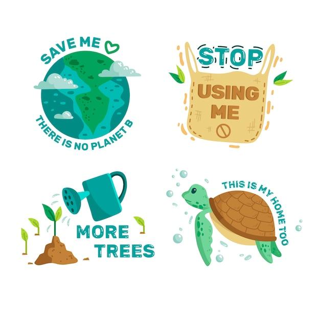 Colección de insignias de ecología ilustrada vector gratuito