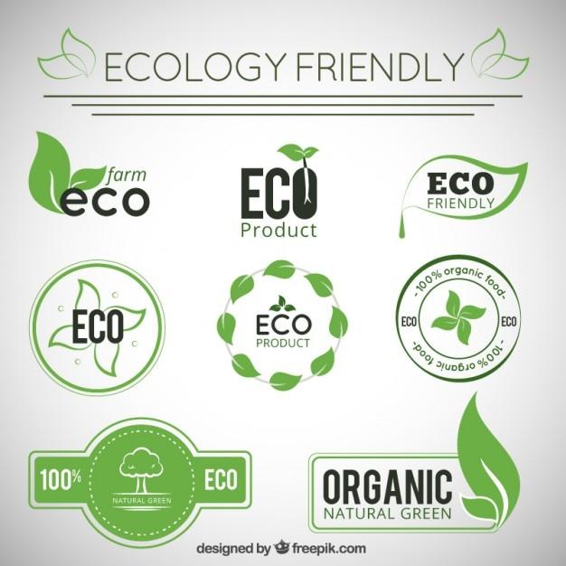 Colección de insignias de ecología vector gratuito