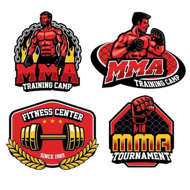 Colección de insignias de entrenamiento de lucha de mma Vector Premium