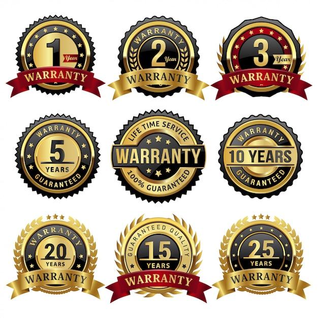 Colección de insignias y etiquetas de años de garantía de oro Vector Premium