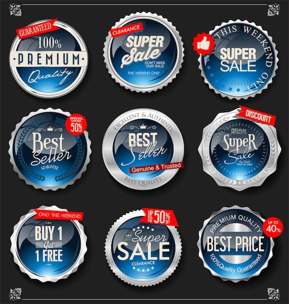 Colección de insignias y etiquetas de plata vintage retro Vector Premium