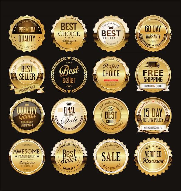 Colección de insignias y etiquetas de venta retro dorado Vector Premium