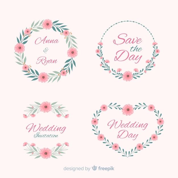 Colección de insignias florales de boda dibujadas a mano vector gratuito