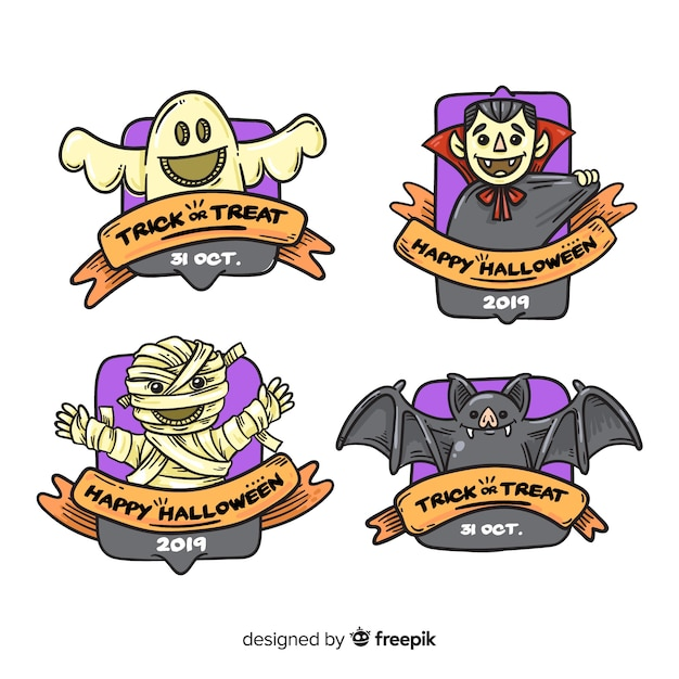 Colección de insignias de halloween dibujadas a mano vector gratuito
