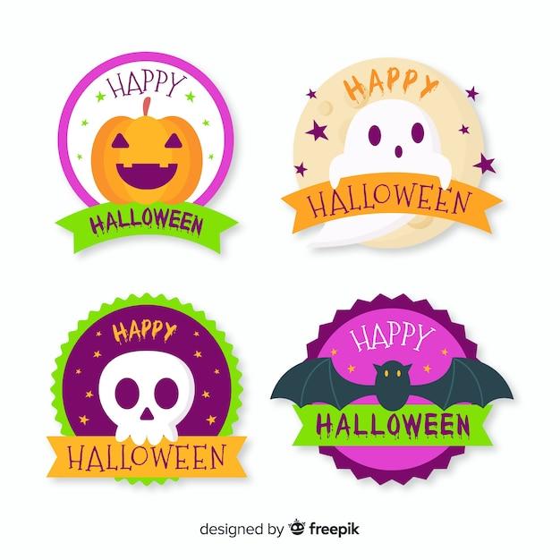 Colección de insignias de halloween de diseño plano vector gratuito