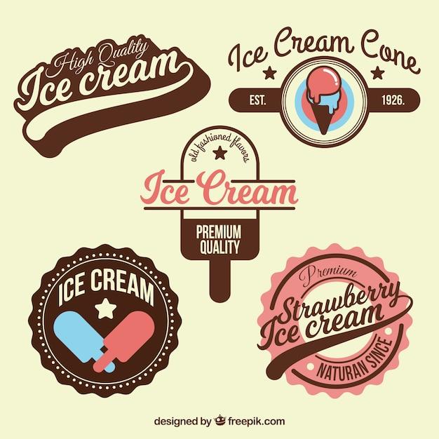 Colección con insignias de helados geniales vector gratuito