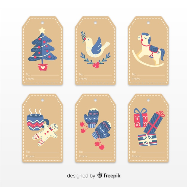 Colección de insignias navideñas dibujadas a mano vector gratuito
