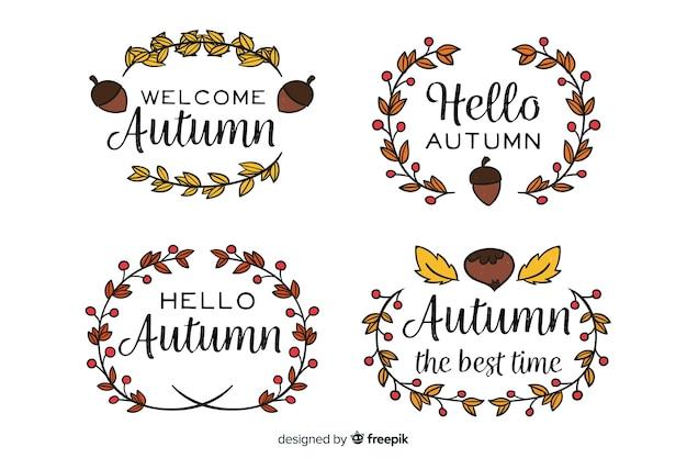 Colección de insignias de otoño dibujadas a mano vector gratuito
