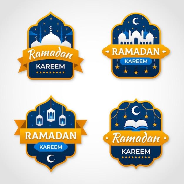 Colección de insignias planas de ramadán vector gratuito