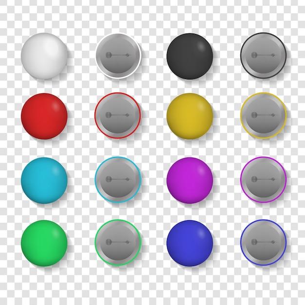 Colección de insignias realistas en el fondo transparente. Vector Premium
