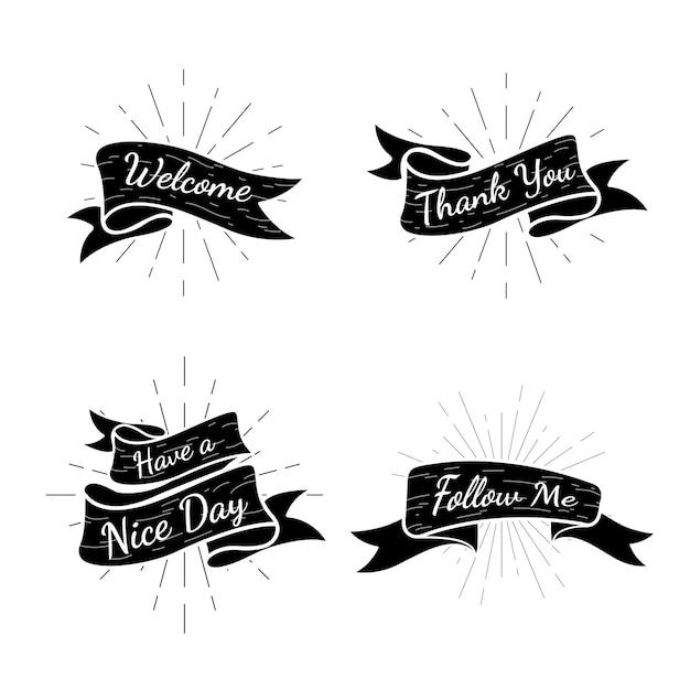 Colección de insignias de texto de banner vector gratuito