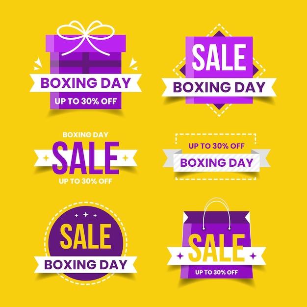 Colección de insignias de venta de diseño plano día de boxeo vector gratuito