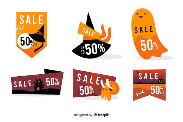 Colección de insignias de venta de halloween dibujadas a mano vector gratuito