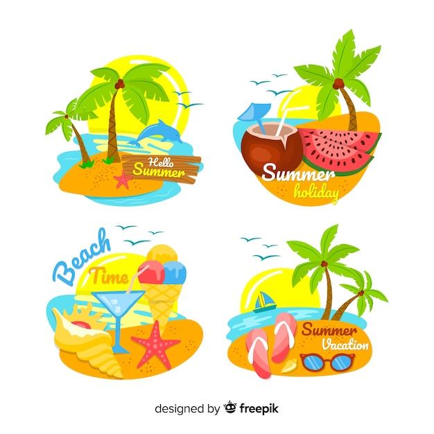 Colección de insignias de verano dibujadas a mano vector gratuito