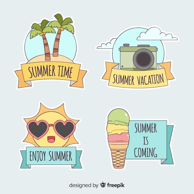 Colección de insignias de verano dibujados a mano vector gratuito