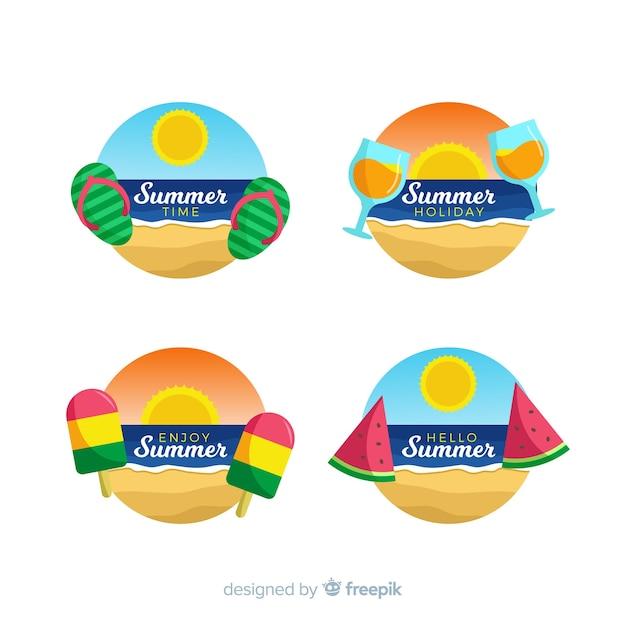 Colección de insignias de verano en diseño plano vector gratuito