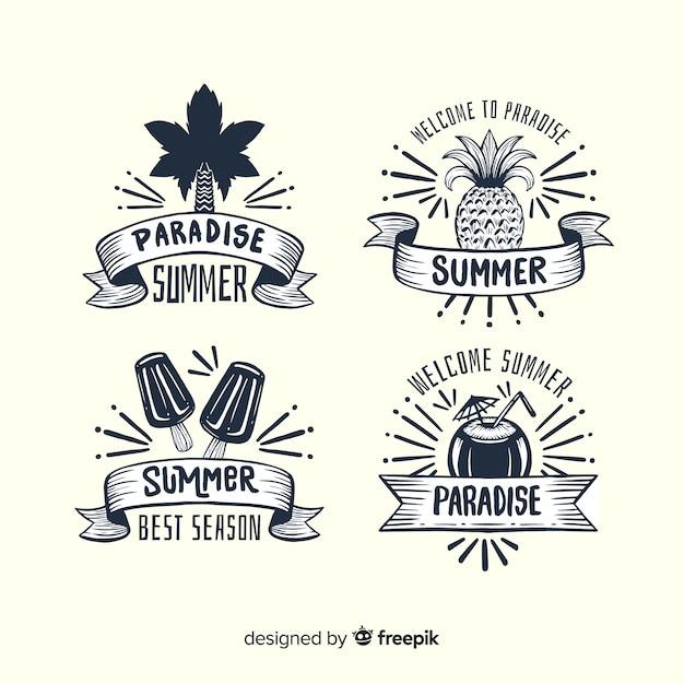 Colección de insignias de verano vintage vector gratuito