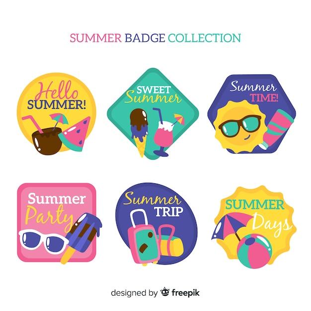Colección de insignias de verano vector gratuito