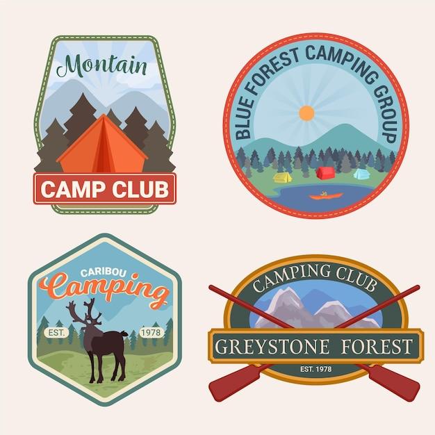 Colección de insignias vintage para camping y aventuras Vector Premium
