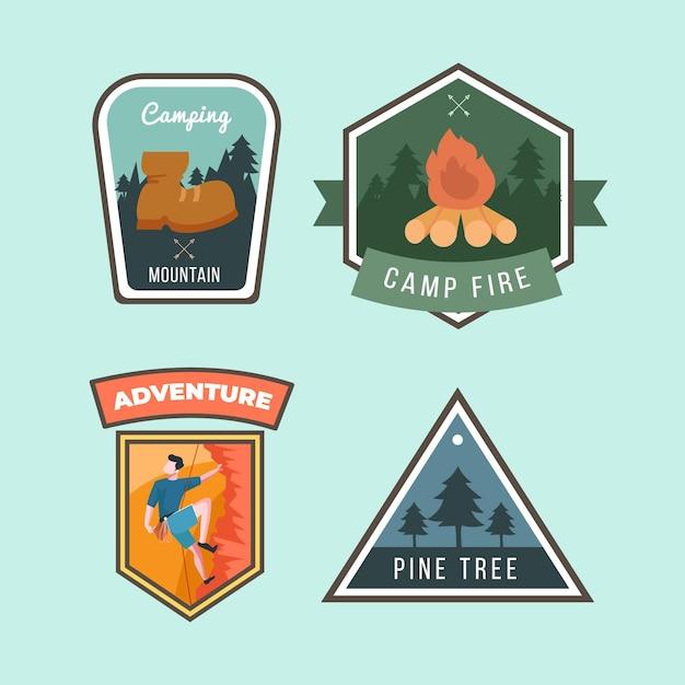 Colección de insignias vintage de camping y aventuras vector gratuito
