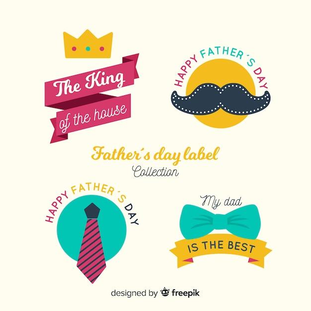 Colección de insignias vintage del día del padre vector gratuito