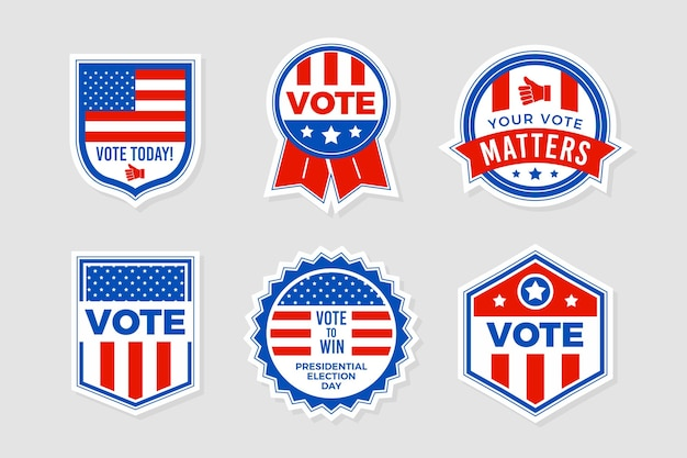 Colección de insignias de votación vector gratuito