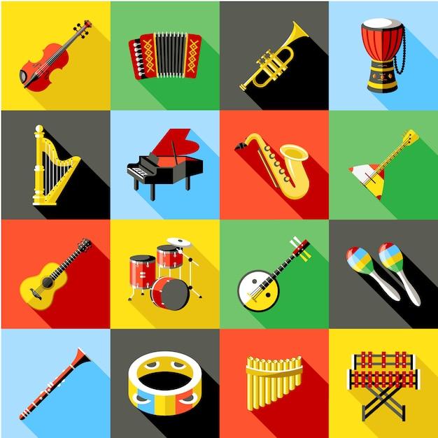 Colección de instrumentos de música vector gratuito