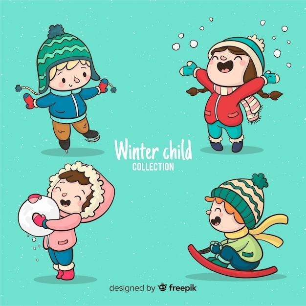 Colección invierno niños jugando vector gratuito