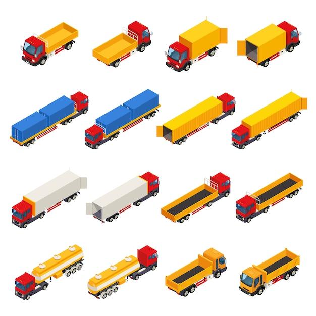 Colección isométrica de camiones de remolque vector gratuito