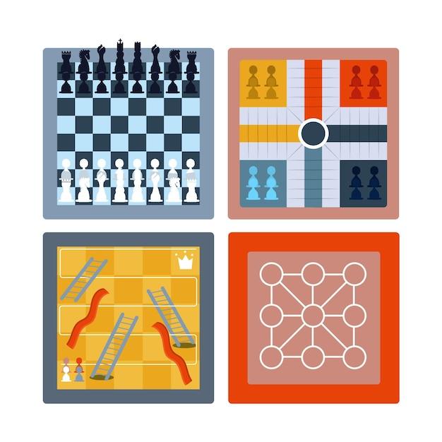 Colección de juegos de mesa Vector Premium