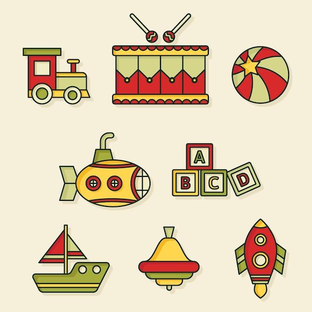 Colección de juguetes navideños de diseño plano vector gratuito